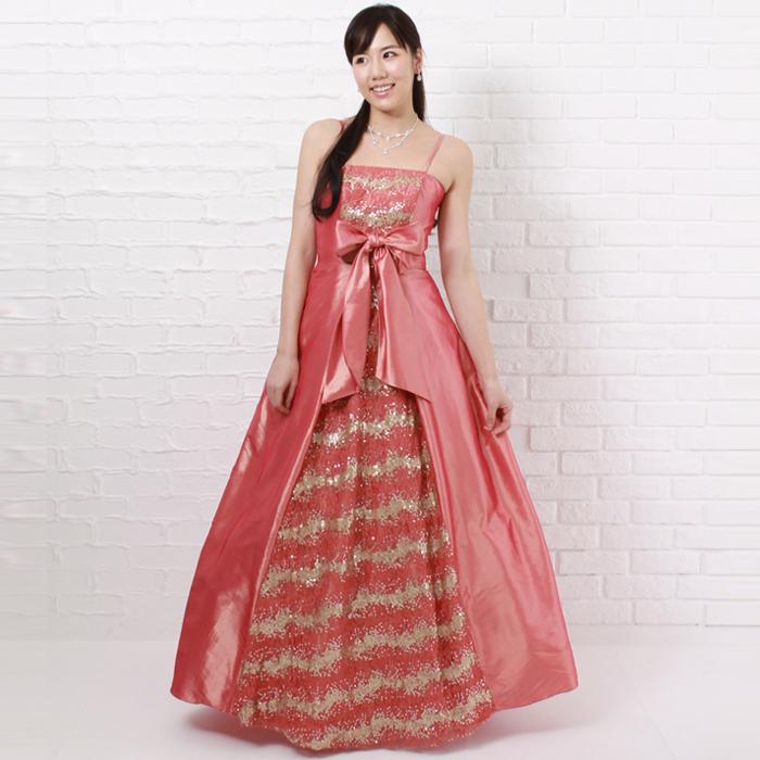 華やかな舞台、二次会などにはフロントリボンが特徴のコーラルオレンジのドレス
