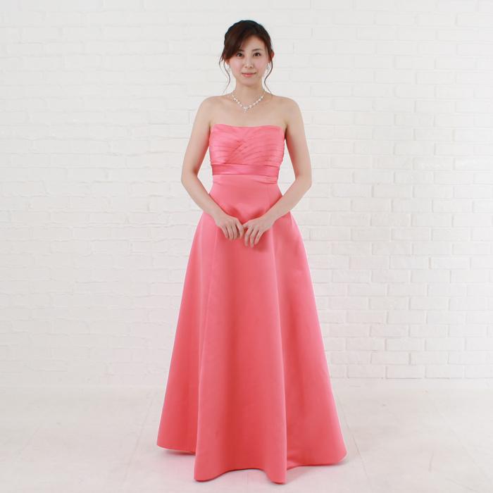 少し濃いめのコーラルピンクカラードレス!大人かわいい色、演奏会、二次会やパーティーなど最適