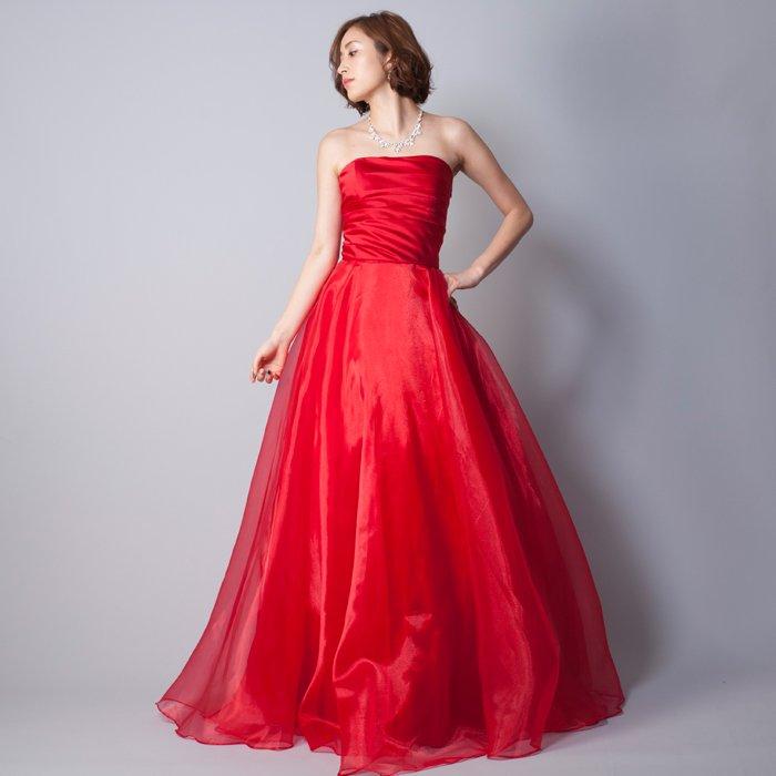 結婚式の二次会衣装などにお勧めな、鮮やかなレッドカラーのカラードレス
