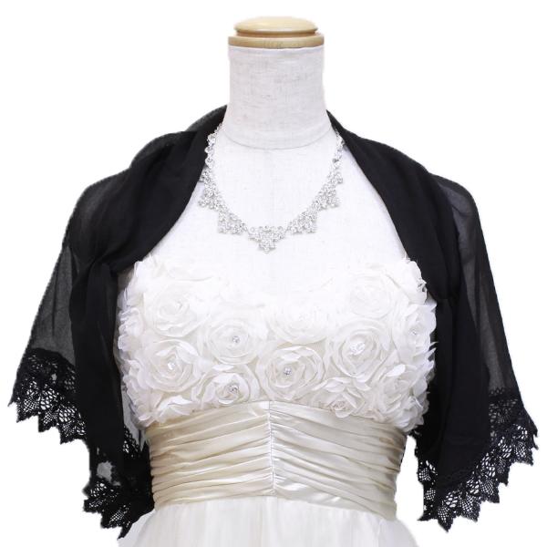 袖のレースの装飾が大人かわいいブラックボレロ