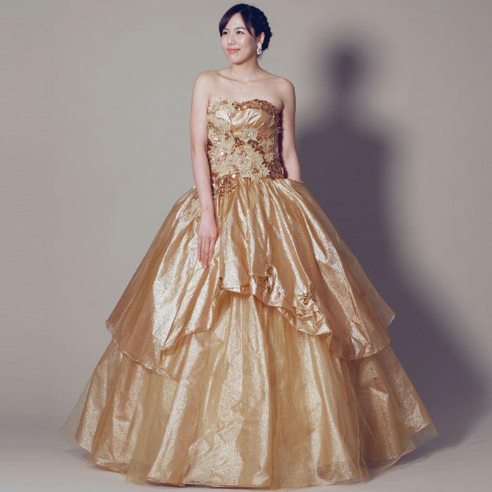 ゴールドカラーの高級感溢れるエレガントなカラードレス