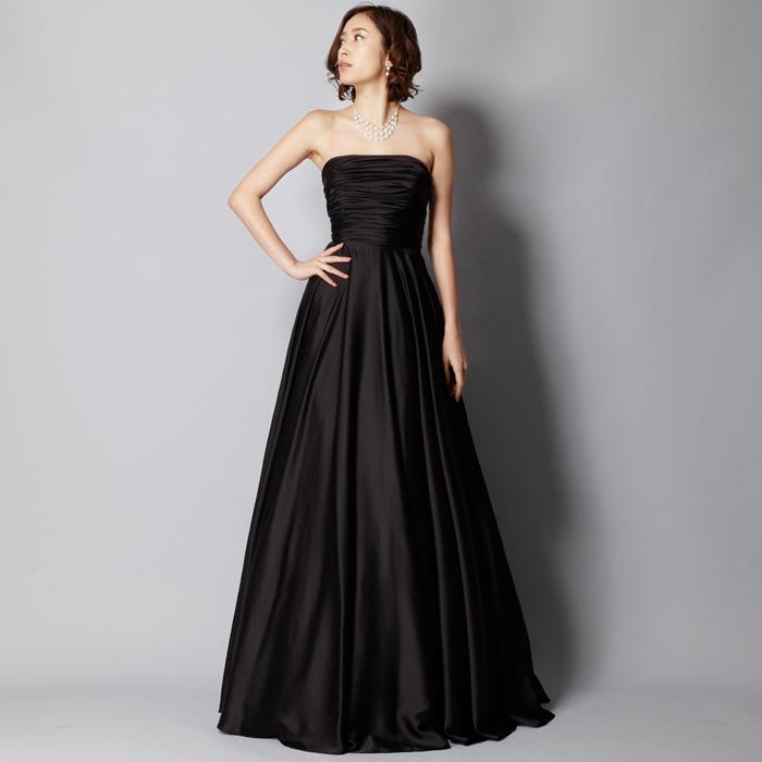 オーケストラ、ピアノ伴奏に最適なブラックカラーのシンプルな黒ロングドレス