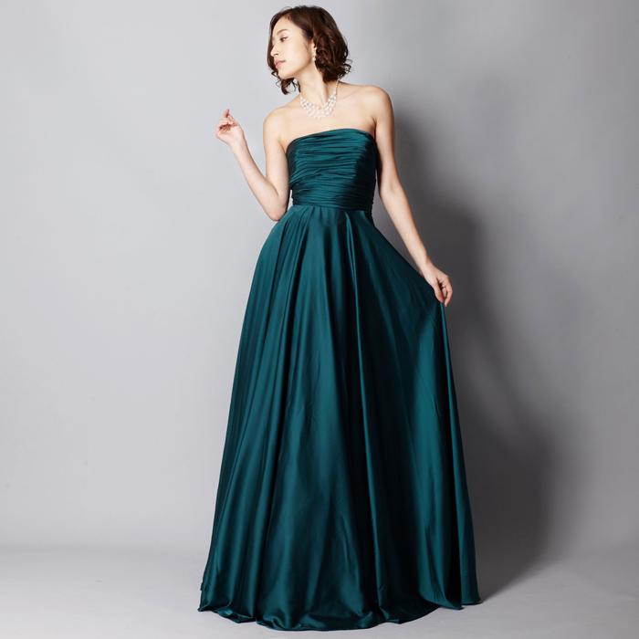 コンサートや伴奏に最適な誰にでも似合う深いグリーンカラードレス