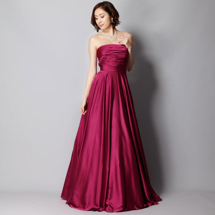 ナイトパーティーにピッタリなフーシャ色のカラードレス
