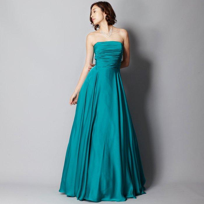 爽やかなエメラルドグリーンサテンシルク艶やかロングドレス