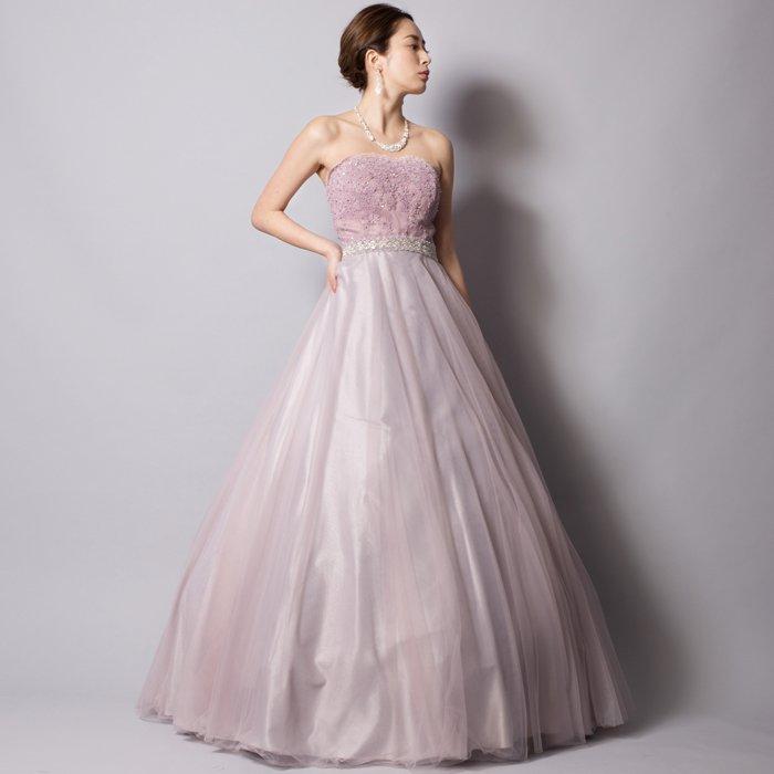 グレーライラックが艶やかで大人な雰囲気を醸し出すボリュームロングドレス