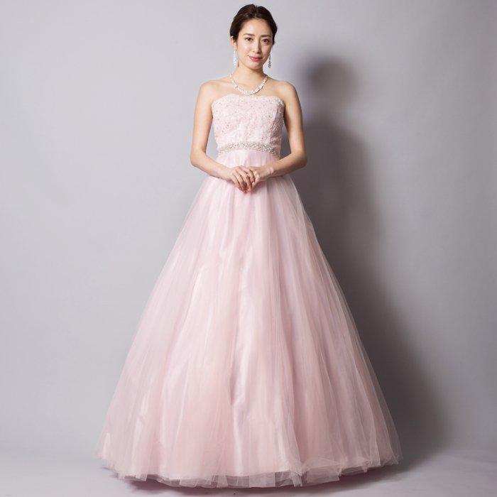 ベビーピンクがとってもキュートレースチュールボリュームロングドレス