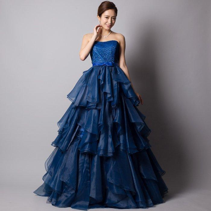 高貴なロイヤルブルーオーガンジーワッフルボリュームロングドレス