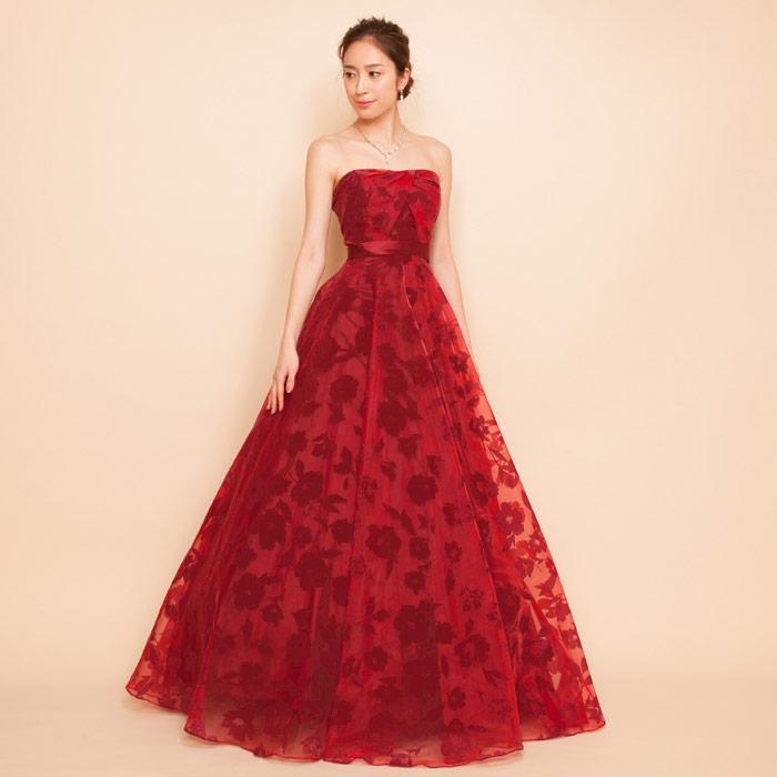 重厚感あふれるワインレッドに落ち着いたフロッキープリントドレス