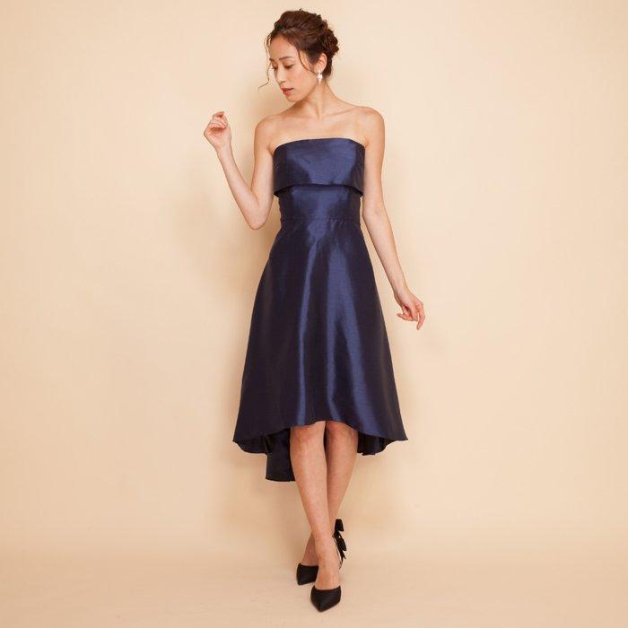 ネイビーシャンタンテールカットドレス