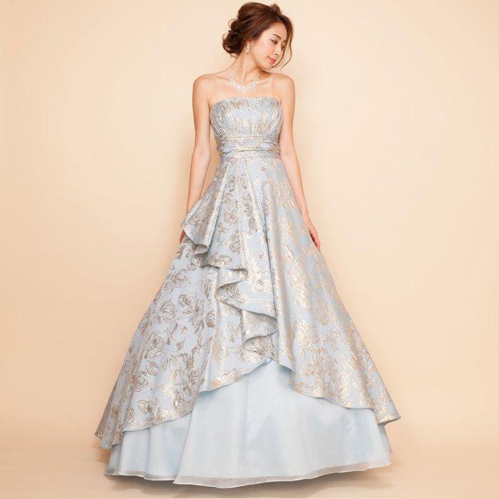 ジャガードスカイブルーボリュームロングドレス