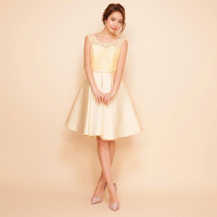 フラワーレースツイルサテンイエローミディアムドレス