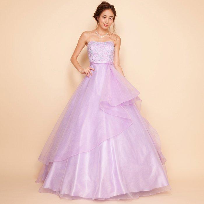 フラワー刺繍オーガンジーレイヤードスカートボリュームライラックカラードレス