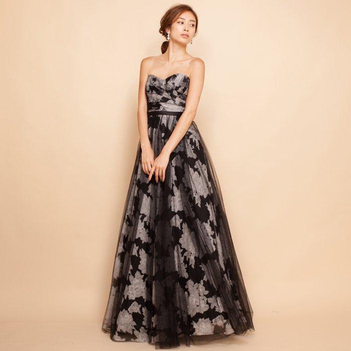 フワラープリント柄チュールレイヤーブラックロングドレス