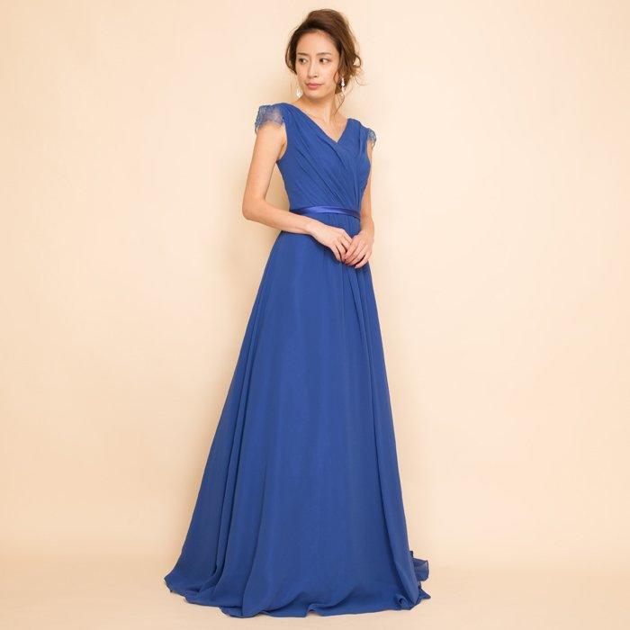 袖レースシフォン高貴なロイヤルブルーロングドレス