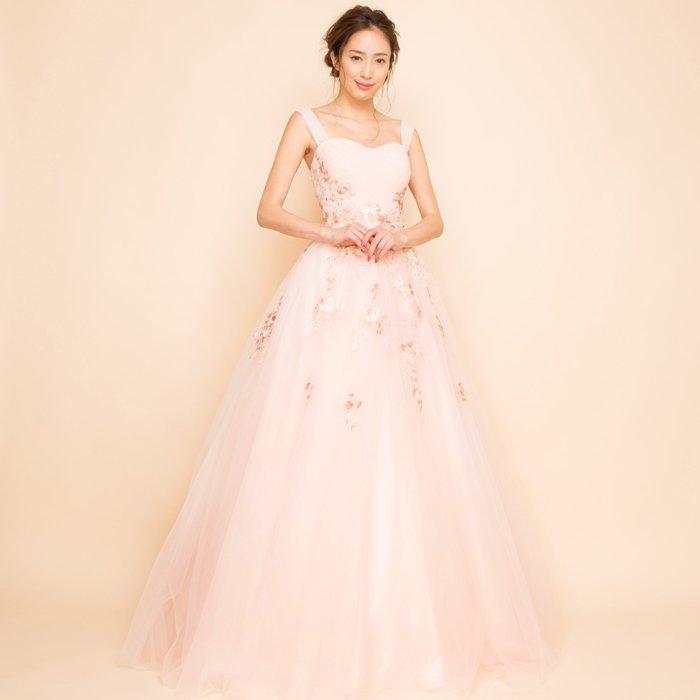 フラワー刺繍プリンセスボリュームチュールベビーピンクロングドレス