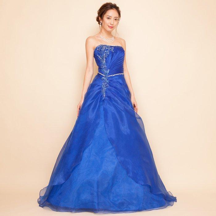 オーガンジービーズ刺繍ロイヤルブルーロングドレス