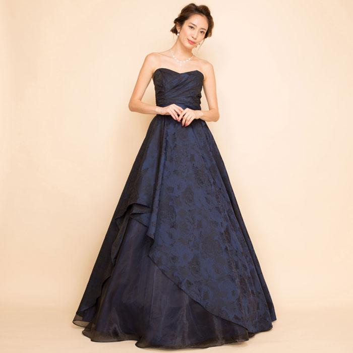 オリジナルジャガードネイビーオーガンジーアシンメトリーロングドレス