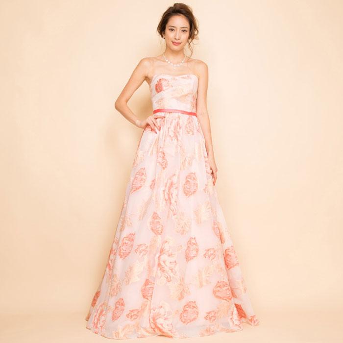 ユニークフラワージャガードピンクロングドレス
