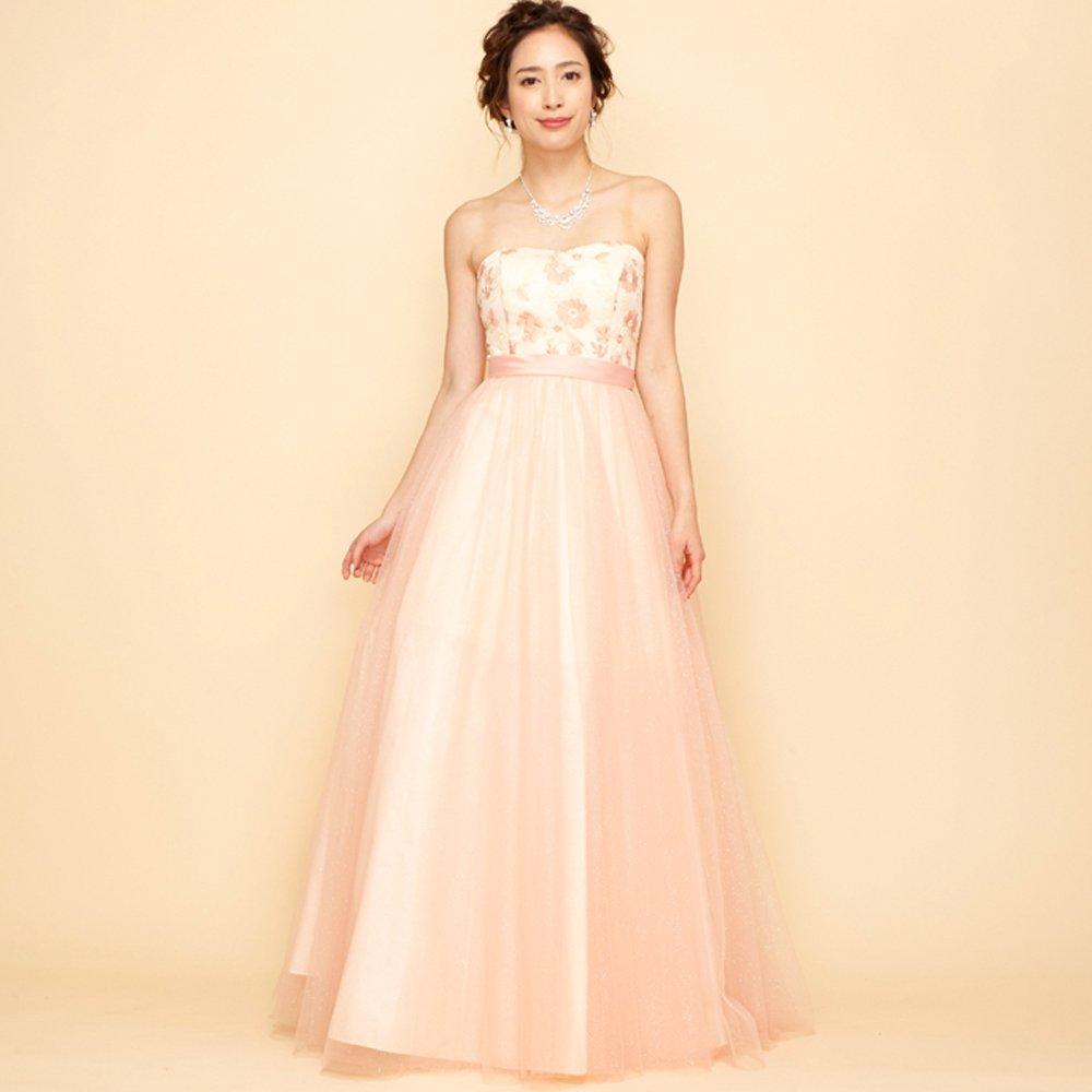 フラワーピンクの刺繍とグリッターチュールで可愛くも優雅な演奏会カラードレス