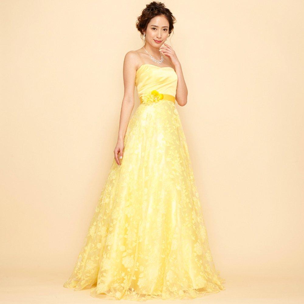 輝く太陽のような明るさのビビットイエローでウエディングにも使えるフラワープリントドレス