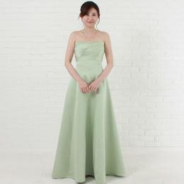 草原のように爽やかなセージカラーのサテンロングドレス