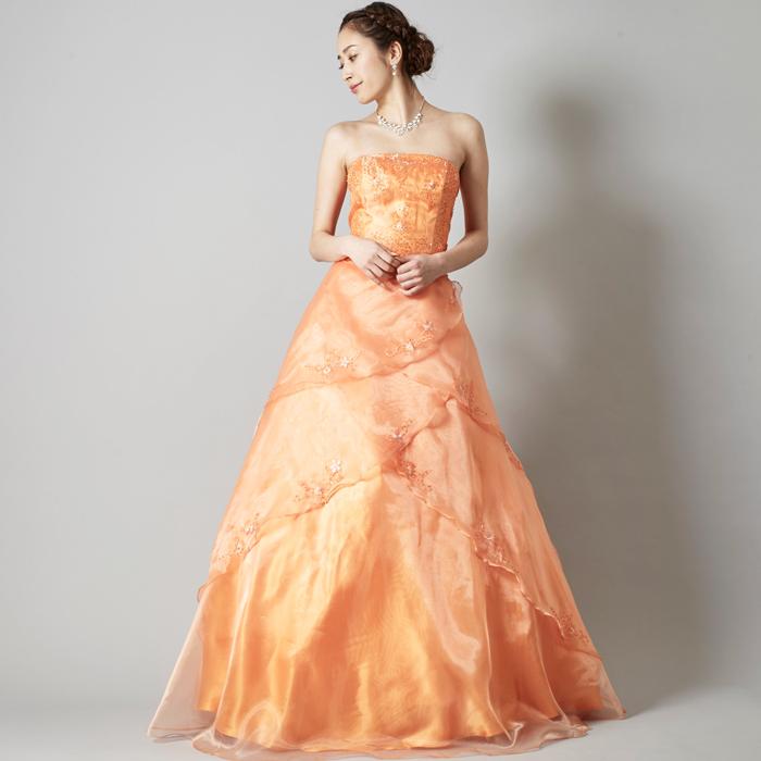 晴れ舞台の演奏会に最適の可愛らしさ抜群オレンジカラーのドレス
