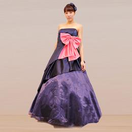 コンテストにオススメなネイビーブルーのキュートなドレス・ピンクのリボン付き