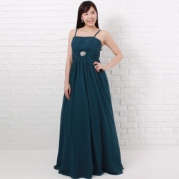 二次会やパーティーにも癒しが必要ディープグリーンで癒し効果抜群の落ちつきのあるカラードレス