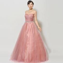 ダスティーローズピンクのお姫様の様な可愛らしさと高級感のあるロングドレス