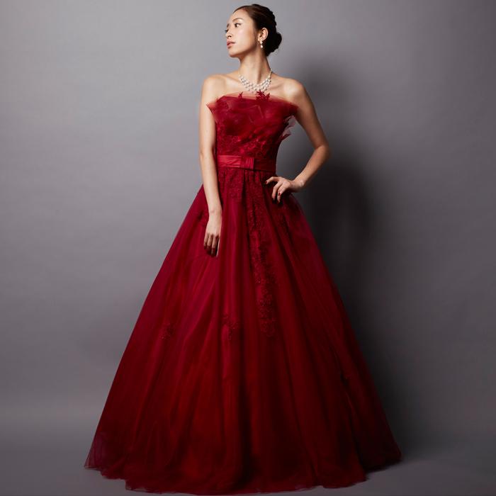 お花とワインレッドが特徴の演奏会ドレス