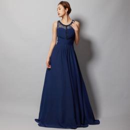 シフォンレース上品で華やかなネイビーロングドレス