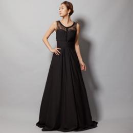 クールなブラックレースシフォンロングドレス