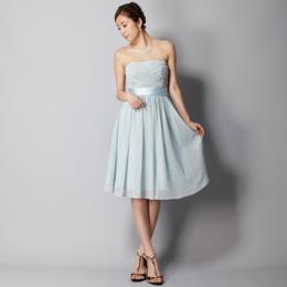 シフォンゴールドラメ膝丈ベビーミントドレス