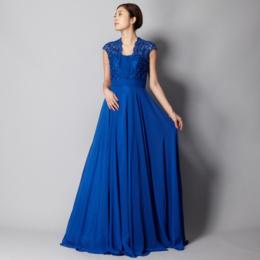 キャサリンロイヤルブルーレースビジュー上品シフォンロングドレス