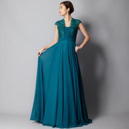 エメラルドグリーンショートトレーン上品レースビーズロングドレス