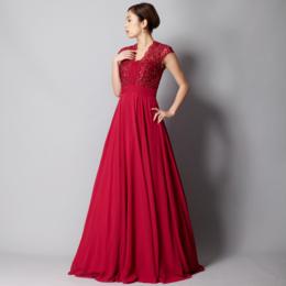 ベリーピンク肩背中カバーリング上品レースビジューシフォンロングドレス