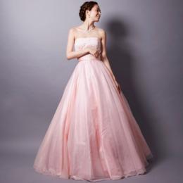 オーガンジーとレースを贅沢に使ったキュートロングドレス
