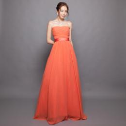 ビタミンカラーオレンジゴールドグリッターシフォンロングドレス