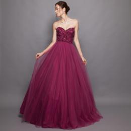 妖艶なグラデーションビーズ刺繍チュールワインロングボリュームドレス