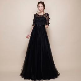 肘上袖フラワーブラックチュールロングドレス