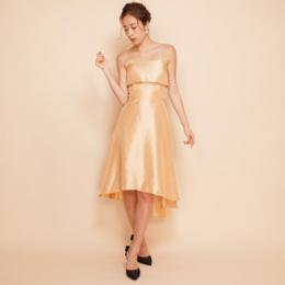 ゴールドシャンタンテールカットドレス