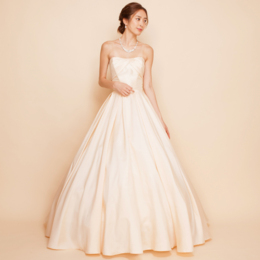 シルクシャンタンシャンパンカラーロングドレス