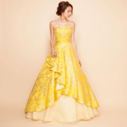 ジャガードイエローロングドレス