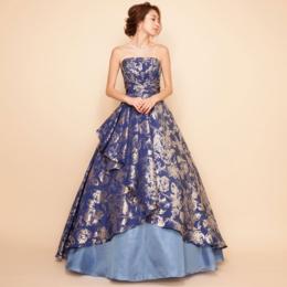 ジャガードブルーロングドレス