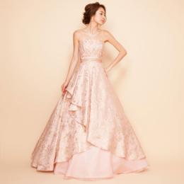ジャガードピンクロングボリュームドレス