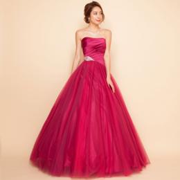 3色チュールオーロラグラデーションディープピンクサテンボリュームロングドレス