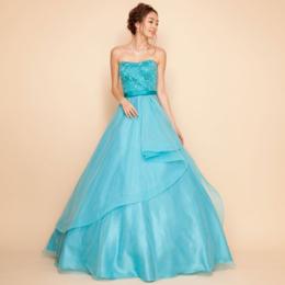 フラワー刺繍オーガンジーレイヤードスカートボリュームエメラルドカラードレス