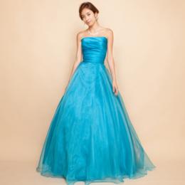 上質サテンターコイズブルーオーガンジースカートロングドレス