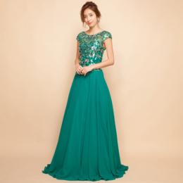 フラワーモチーフスパンコールシフォンエメラルドグリーンロングドレス